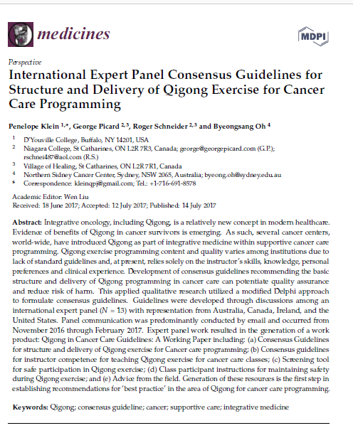 International Expert Panel Consensus Guidelines for Structure and Delivery of Qigong Exercise for Cancer Care Programming